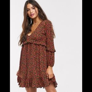 Pull&Bear V Neck Smock Mini Dress